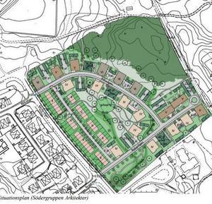 Illustration: Södergruppen arkitekterEn trekant i nordöstra delen av planområdet lämnas utan bebyggelse eftersom man hittat flera gamla stensättningar där.