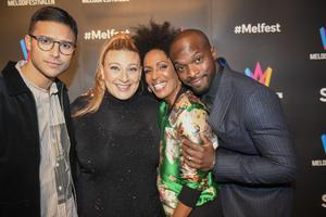 Eric Saade, Marika Carlsson, Sarah Down Finer och Kodjo Akolor är programledare i Melodifestivalen 2019. Foto Fredrik Sandberg / TT