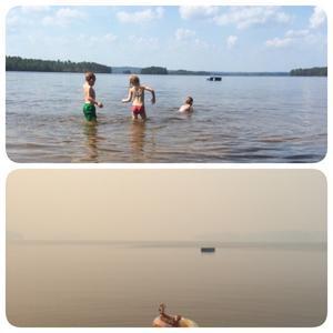 Familjen Nonnen badar i Märrsjön sommaren 2014. Bilderna är tagna på samma plats med en dags mellanrum: lördag 2 augusti respektive söndag 3 augusti. Foto: Privat/Nettan Nonnen