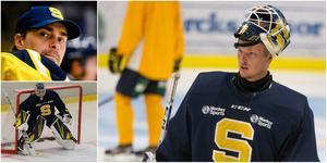 Alexander Sahlin är småskadad efter att ha träffats över fingrarna av ett skott mot Djurgården. Det kan öppna för nye junioren Viktor Rönnqvist, till höger, som backup till debuterande Fredrik Bergvik, nere till vänster, på onsdag. Foto: Mittmedia och Bildbyrån.