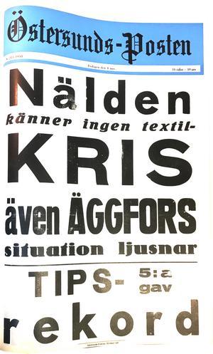 Östersunds-Postens löpsedel 4 november 1958.