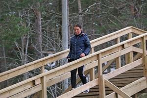 Heléne Nysten gillar att motioner i Sörbybackens trappa.