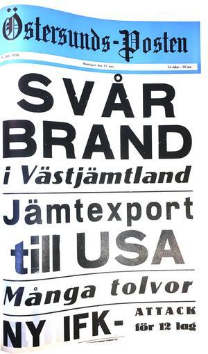 Östersunds-Postens löpsedel 17 november 1958.