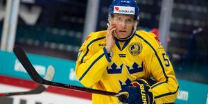 Anton Wedin i Tre Kronor-tröjan. Timrå IK-stjärnan laddar nu för sista turneringen innan VM-truppen ska tas ut. Bild: Tomi Hänninen/Bildbyrån