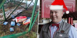 Om ett par dagar får han stark konkurrens, men just nu är Johan Högdahl jultomten med hela Söderbärke. Foto: Privat & Torbjörn Granling/arkiv (montage)