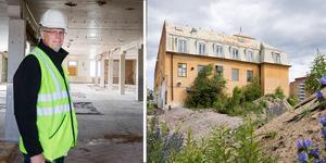 Ulf Gavlefors visar runt i den gamla fabriken som Ahlgrens byggde 1921.