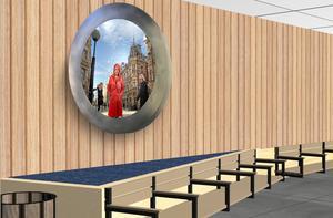 Så här kommer det att se ut inne i den nya bussterminalen – Peter Svedberg gör tre runda bilder med slumpglas framför. Skiss: Peter Svedberg
