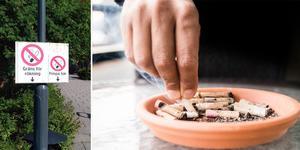 """""""Landstinget Dalarna skulle vara ett rökfritt landsting. Men trots beslutet placerade landstinget en särskild rökbur bara några meter framför entrén till Falu lasarett!"""" Foto: Läsarbild/TT/montage"""