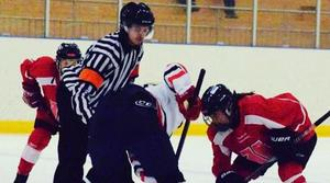 Adam Vikergård som domare. Lagen och spelarna på bilden var inte inblandade i incidenten. Foto: Privat