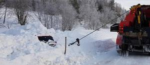 Mattias Karlsson var tvungen att gräva fram bilen.