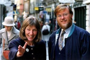 En bild från 1991. Jan Axelsson var språkrör för Miljöpartiet, tillsammans med Fiona Björling. Foto: Lennart Nygren, TT.