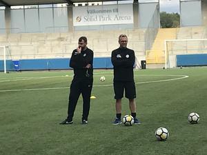 Thomas Gabrielsson och Joacim Gunnarsson på dagens träning.