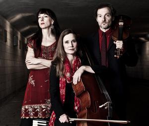Trion består av Semmy Stahlhammer, violin, Isabel Blommé, violoncell, och Miriam Oldenburg, dragspel. Pressbild