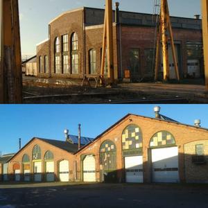 Övre bilden: Lokverkstad – bevaras. Arkivbild. Nedre bild Vagnverkstad – rivs. Foto: Ulf Jansson.