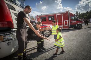 Polska brandmän, brandbilar, som varit i Sveg och Ljusdal och hjälpt till att släcka de stora skogsbränderna.