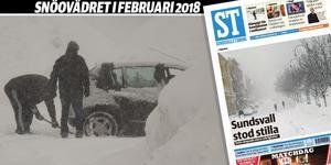 """""""Sundsvall stod stilla"""" stod det på förstasidan dagen efter väderkaoset som stängde kommunens skolor och ställde in bussar, tåg och flyg."""