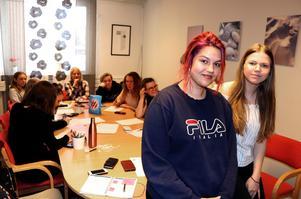 Medina Gutic och Elise Persson berättar om det förberedande man gjort inför Global classrooms konferens i Ånge.