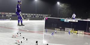 Isen på K Bygg Arena har tagit rejält med stryk i mildvädret de senaste dagarna, och är inte spelbar på måndagen. Bild: TT/Bandyplay
