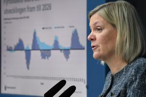 Skattesänkningar och nedskärningar skulle få stora konsekvenser för välfärden i Västmanland, enligt de socialdemokratiska skribenterna. På bilden: Finansminister Magdalena Andersson (S).  Foto: Fredrik Sandberg/ TT