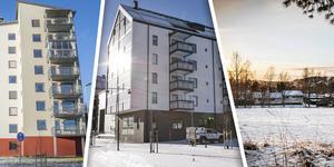 Höghus vid Remonthagen, hus vid Storsjö Strand samt vy från ÖSK-området - exempel på byggplaner i Östersund.