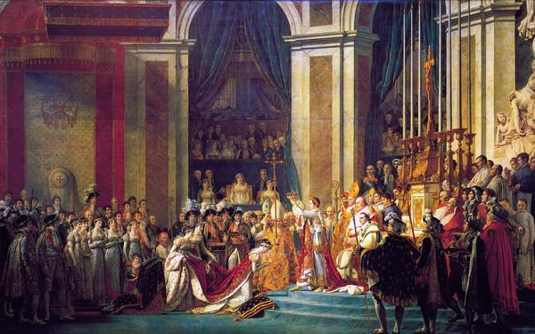 Bara tio år efter att monarkin i Frankrike avskaffats kröns generalen Napoleon Bonaparte till kejsare 1804. Målning av Jacques-Louis David.
