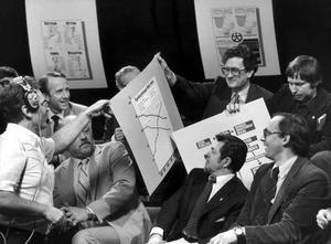 Villy Bergström i en SVT-debatt om lönetagarfonder i mars 1982. I debatten medverkade dessutom bland andra SAF:s Olof Ljunggren, Metalls Leif Blomgren, Kommunals Sigvard Marjasin och Johan Lönnroth (VPK).