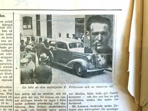 Infälld: Elon Pettersson, stora bilden rånarnas bil. Till höger syns det som är kvar av förstasidan den dag SA skrev att Salaligan gripits. Någon har under tidens gång velat ha ensamrätt på den och rivit ur den ur lägget.