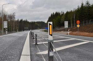 Mitträcken gör trafiken säkrare på den nya vägsträckan på riksväg 32 mellan Eksjö och Tranås.