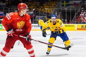 Lander jagar ryske Jevgenij Kuznetsov under gruppspelsmatchen förra VM-turneringen. Bild: Joel Marklund/BILDBYRÅN