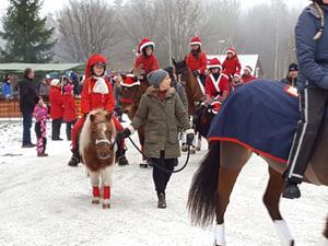 Julmarknad i Mullhyttan, tomteparad till häst. Foto: Privat