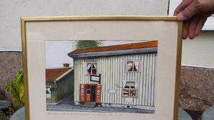 Målning från hur skeppshandeln såg ut kring 1905. Familjen Hedberg har den hemma i Stockholm.