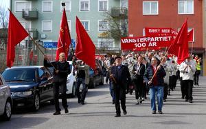 Vänsterpartiets Första maj-tåg i Södertälje, 2017.
