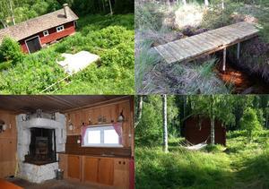 På den här gården i Heden i Nås finns ett fritidshus, gäststuga och utedass.