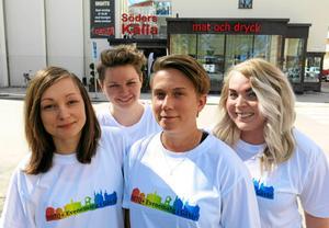 Emelie Strandberg, Josefine Svendsen, Nathalie Valdemarson och Linda Kristoffersson, fyra ur styrelsen för HBTQ+ evenemang i Gävle.
