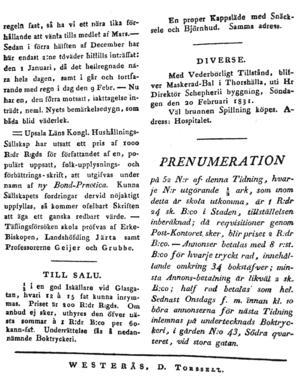 VLT, sidan 4, från torsdagen den 10 februari 1831.