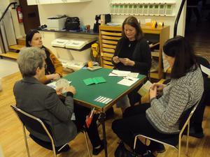 Match mellan Limit och Boll i den sista omgången. Vid det här bordet spelar från vänster Christina Oldin, Anki Johansson, Carina Larsson och Gun Röhnisch.