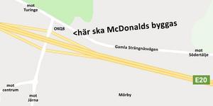 McDonalds blir granne med OKQ8, som öppnade 2017 vid trafikplats Nykvarn. Söder om motorvägen ligger Preem, som öppnade 2014, tillsammans med Burger king, som öppnade 2015. Illustration: LT / Google maps