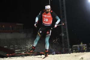 Frankrikes Martin Fourcade under herrarnas distanslopp 20 km i världscupen på Östersunds Skidstadion.