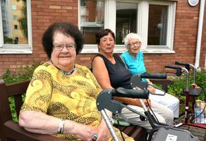 Birgitta Stafsudd, Karin Lindh och Anne-Marie Wiklander tycker att vården och pensionärernas situation är viktiga politiska frågor.