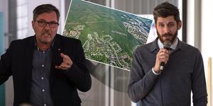 Anders Hedenius (S) och Magnus Ydmark svarade på frågor. Bilden är ett montage. Skiss: Sundsvalls kommun