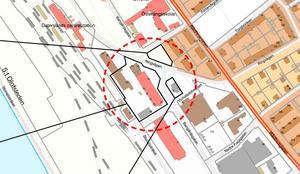 Det är i det här området, runt korsningen Bangårdsgatan och Ringvägen nya byggen planeras – om detaljplanen går igenom så småningom. Illustration: Östersunds kommun