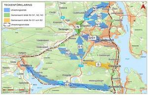 Tanken är att E14 ska flyttas från Bergsgatan, vilket innebär att Trafikverket just nu utreder flera möjliga sträckningar för nya dragningen av E14. Skiss: Trafikverket