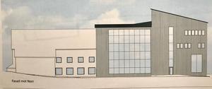 Nya fasaden mot norr, efter om och utbyggnaden.