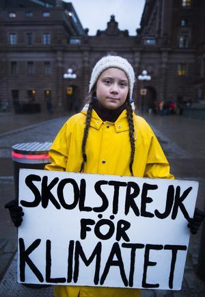 Greta Thunberg deltar i klimatmanifestation i Stockholm november 2018. Foto: Hanna Franzén/TT