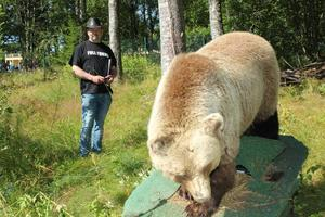 På mässan kan man få sin hunds beteende testad på en björn som finns monterad på en permobil. Foto: Privat