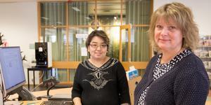 Bibliotekarie Elinor Frohne Östlund, och bibliotekschefen Anette Gripenberth ser fram mot satsningen med gemensamma bibliotek i länt.