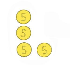 Lös kluringen. Det är 3 mynt i den lodräta raden och 2 mynt i den vågräta raden. Kan du flytta ett mynt så att det blir 3 mynt i varje rad? Kluring och illustration av Fredrik Cattani.