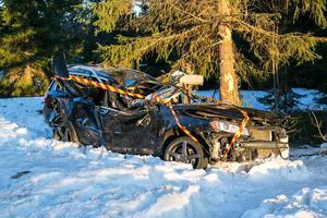 Både föraren och Henke klämdes fast i bilen som voltade av vägen och krockade med ett träd utanför Sikås i april förra året.