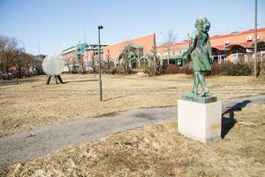 Här i Strykjärnsparken föreslår Sara Granrud att man har en skridskobana under vintern.