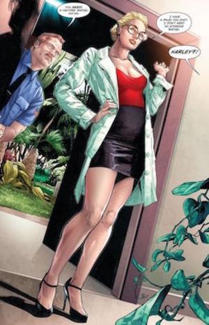 Psykiatrikern Harleen Quinzel förälskar sig i Jokerns vansinne. Teckning av Clay Mann and Seth Mann.